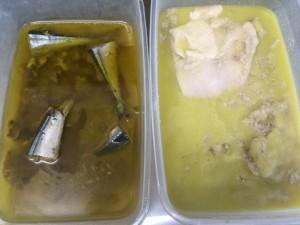 どちらも同じオイルと調理法なのに・・・